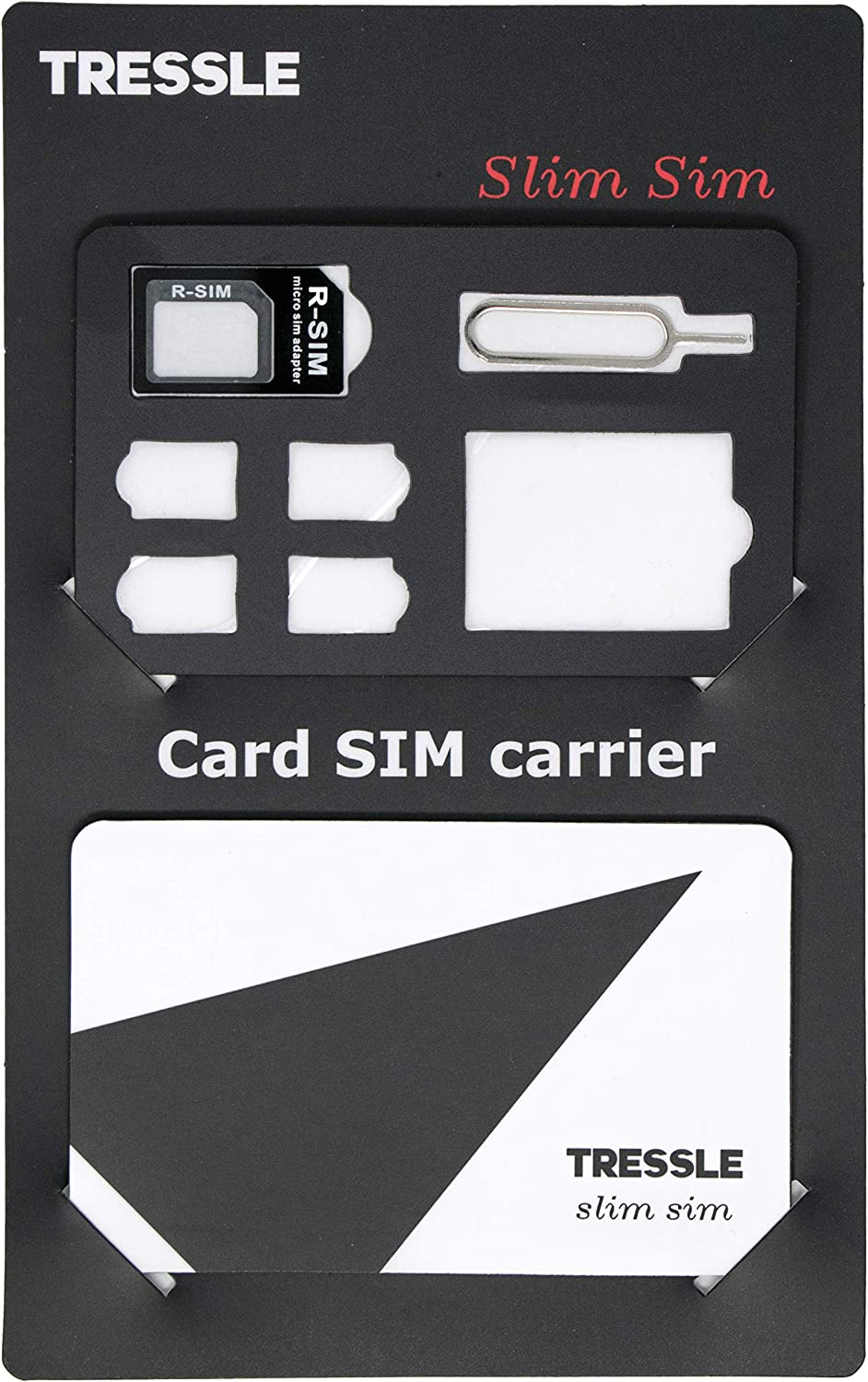 Slim SIM Card Holder - Micro, Nano, Standard Memory Card Carrier Kit with 3 Card Adapters and 1 Eject Tool - Set of 2