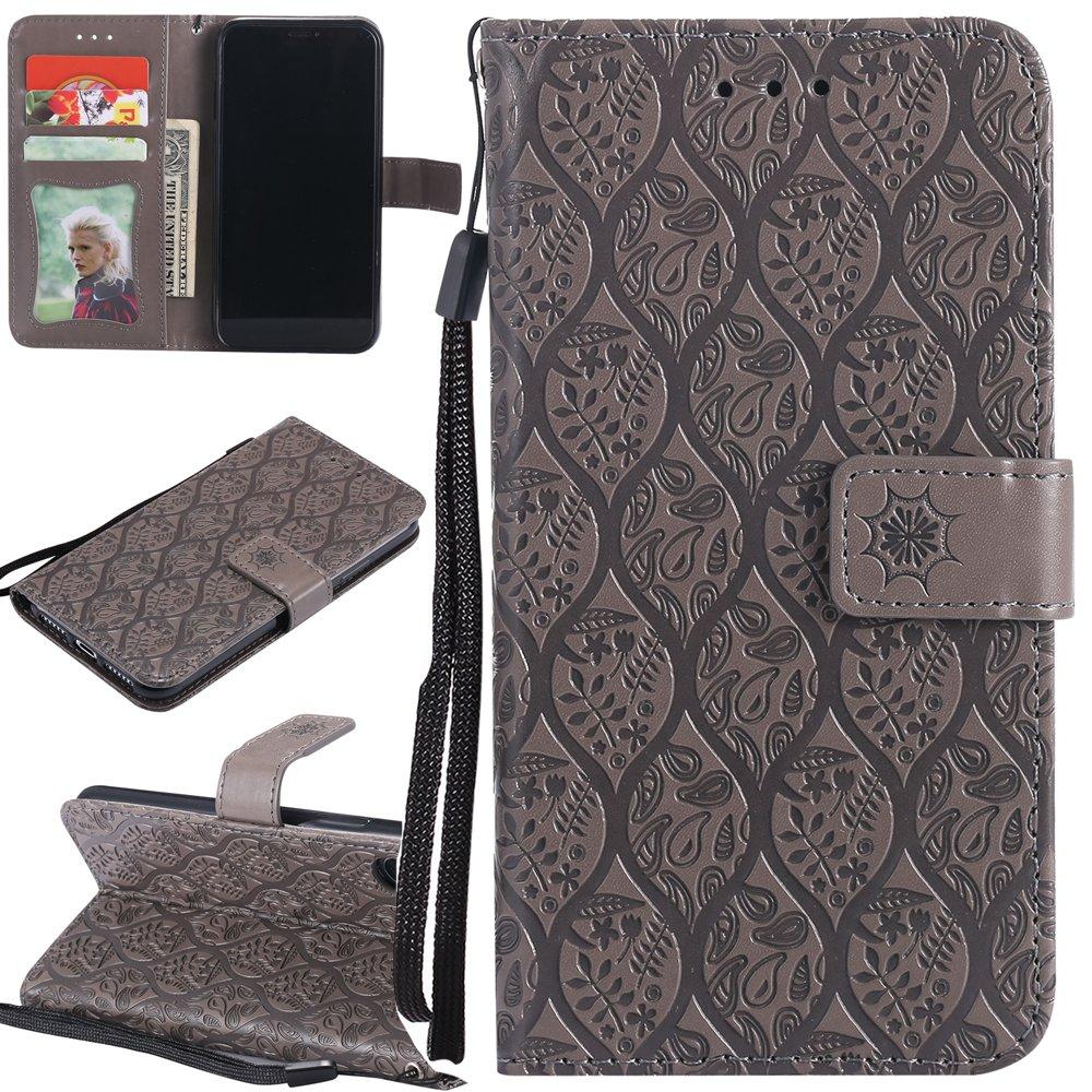 Ooboom® Sony Xperia X Custodia Modello Foglie Magnetico Flip Folio in Pelle PU Cuoio Copertura Case Cover Wallet Portafoglio Supporto per Sony Xperia X - Blu 935681