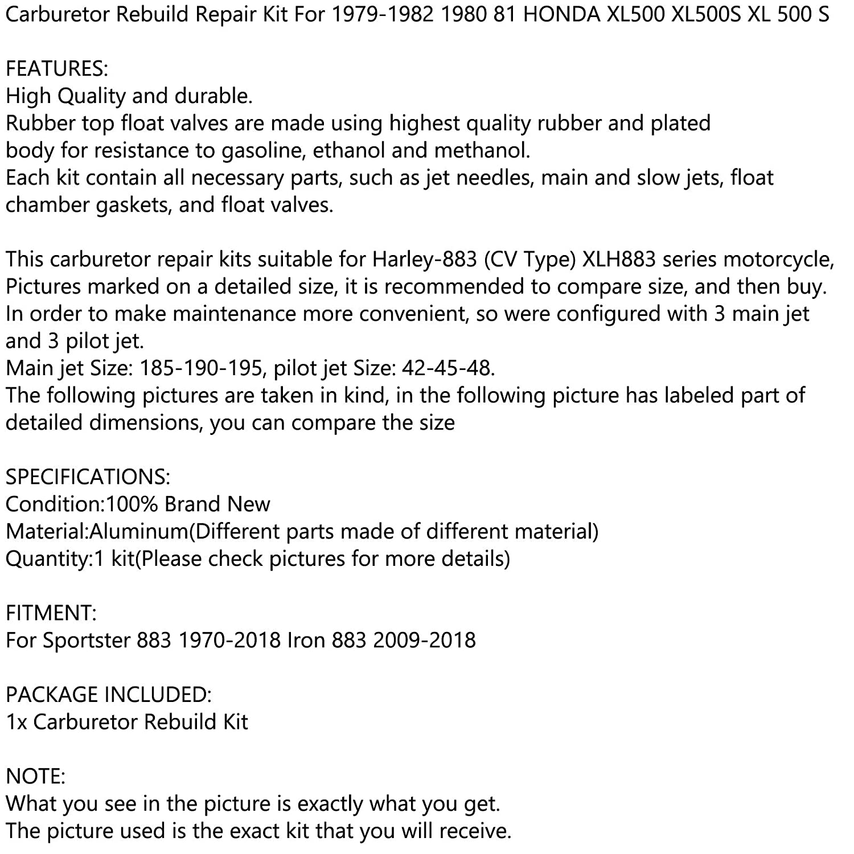 Areyourshop Vergaserreparatur-Set f/ür 1979-1982 1980 81 H-O-N-D-A XL500 XL500S XL 500 S