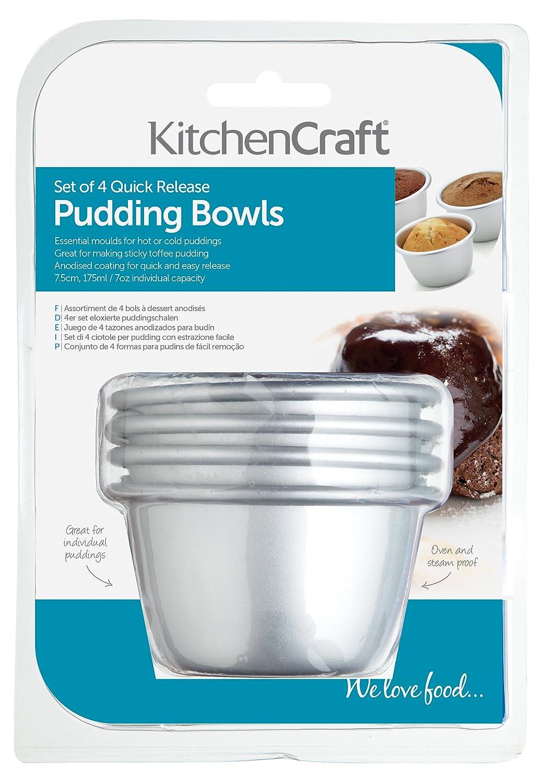 Kitchen Craft - Moldes de aluminio anodizado (4 unidades, 7,5 cm): Amazon.es: Hogar