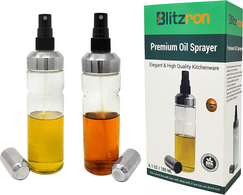 Oil Sprayer Mister Spritzer Dispenser Pump Food Grade Glass Bottle (2 pack) - Cooking Air Fryer, BBQ, Grill, Salad, Kitchen essential oils like Olive Oil, Vinegar, Vegetable Oil; BPA-Free, Non-Aerosol