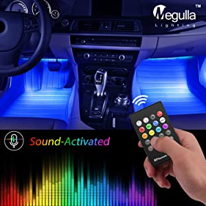 Megulla Underdash Lighting Kit, USB-Powered RGB Multi-Color LED Car Interior Lights with Sound Activation and Wireless Remote for Cars, Trucks, Pickups (4pc RGB Kit)