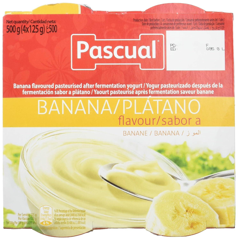 Pascual Yogur Sabor Plátano - Paquete de 4 x 125 gr - Total: 500 gr: Amazon.es: Amazon Pantry