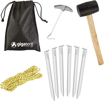 Camping Tent Accessory Set Pegs Guy Ropes Lines Rubber Mallet Peg Extractor etc