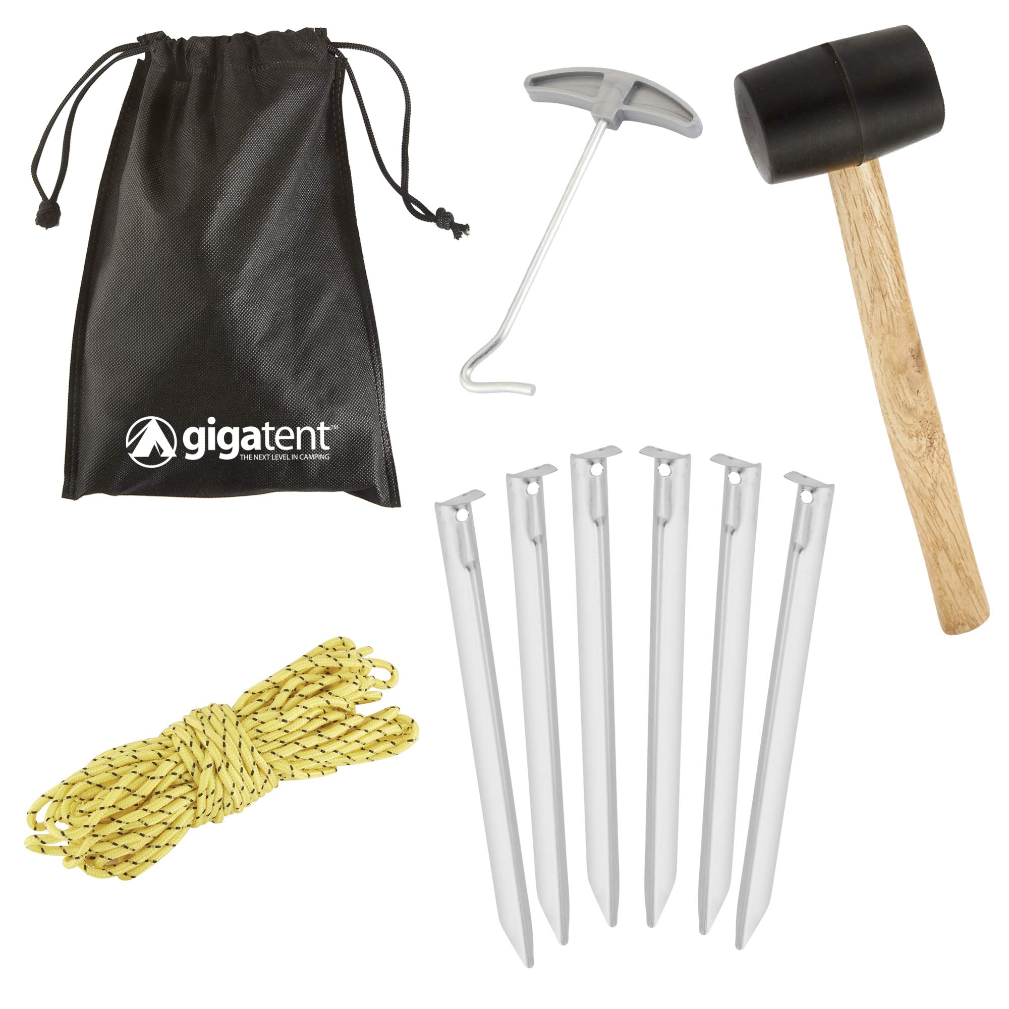 GigaTent 10-Piece Camping Stake Set - Complete Lightweight Tent Setup with Portable Bag - Essential Gear for Outdoor & Hiking by GigaTent