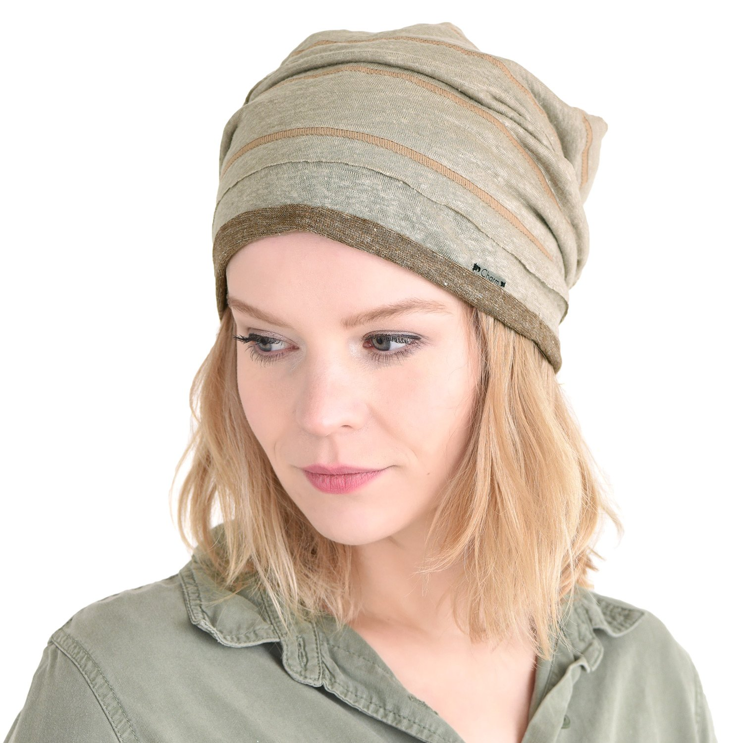 Amazon.com  CHARM Slouchy Linen Beanie Hat - Natural Material Men Women  Baggy Summer Slouch Hipster Hat Beige  Clothing ede93577768