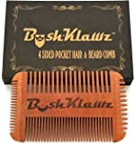 4Klawz Beard Comb - Pocket Comb for Men's Hair Beard Mustache and Sideburns with 4 Sides of Wide & Fine Teeth