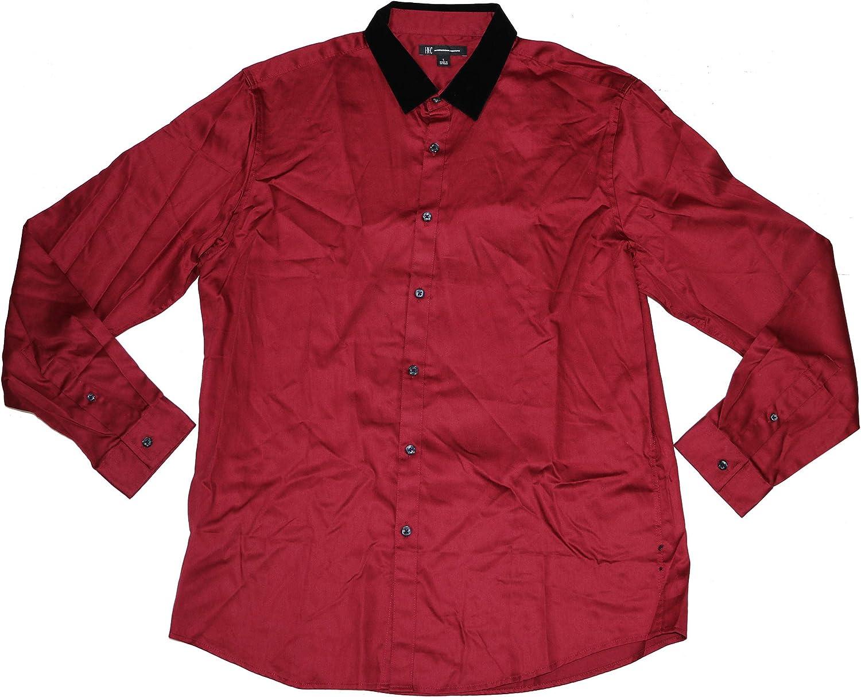 INC International Concepts Neo Punk Velvet Collar Long Sleeve Button Down Shirt