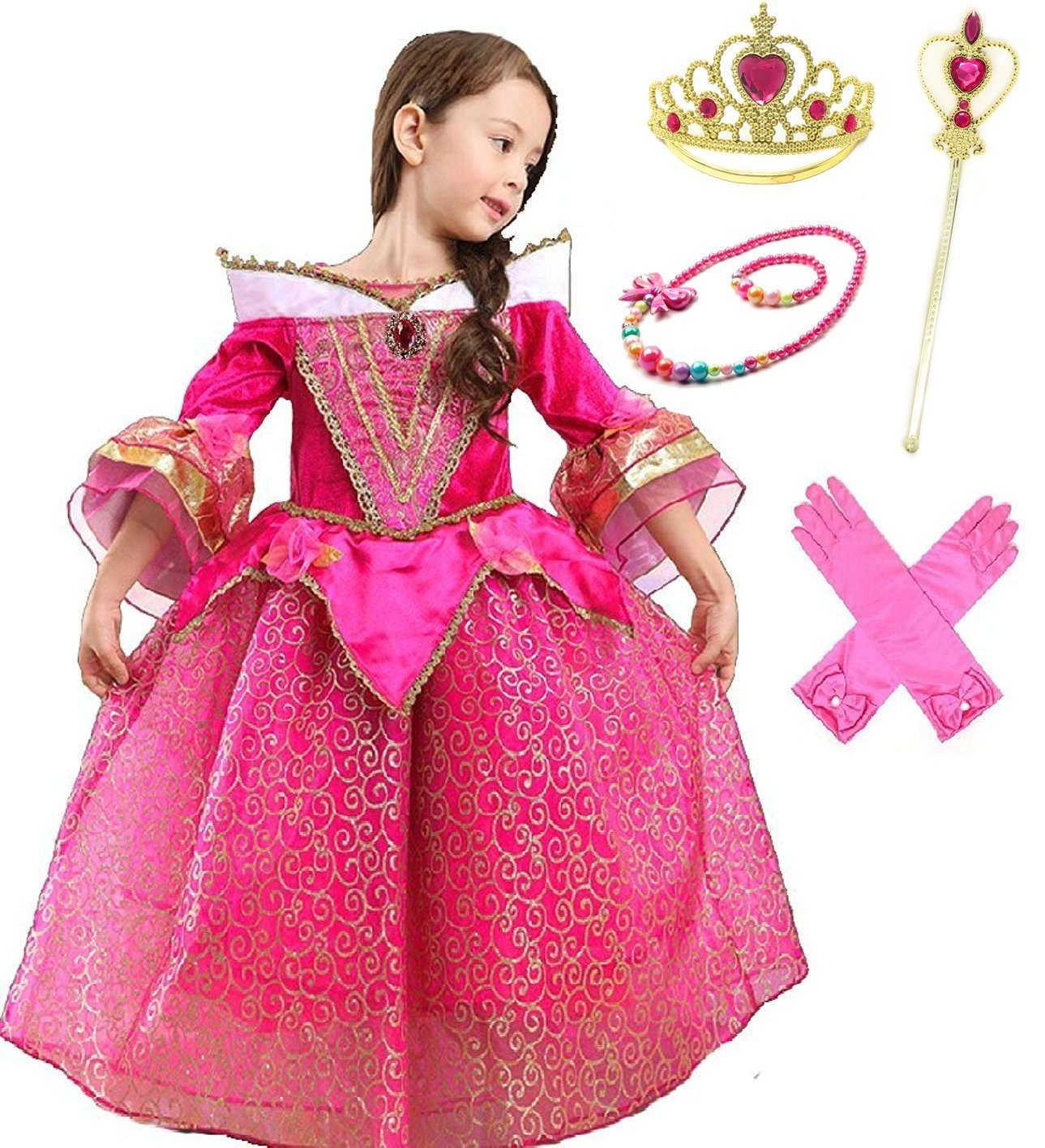 Romy's Collection Princess Aurora Deluxe Pink Party Dress Costume (6-7, Style3)