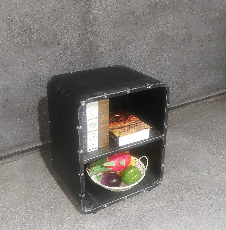 "Lisuden 2-Tier Metal Steel Bookcase Display Cabinet Industrial Open Storage Shelf Organizer Kitchen Sideboard Office Decor Bookcase Bedroom Nightstand Silver Brush Black 20"" H (2-Shelf)"