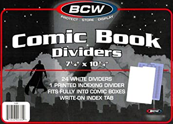 100 BCW White Archival Plastic Comic Book Dividers with Folding Write On Tab