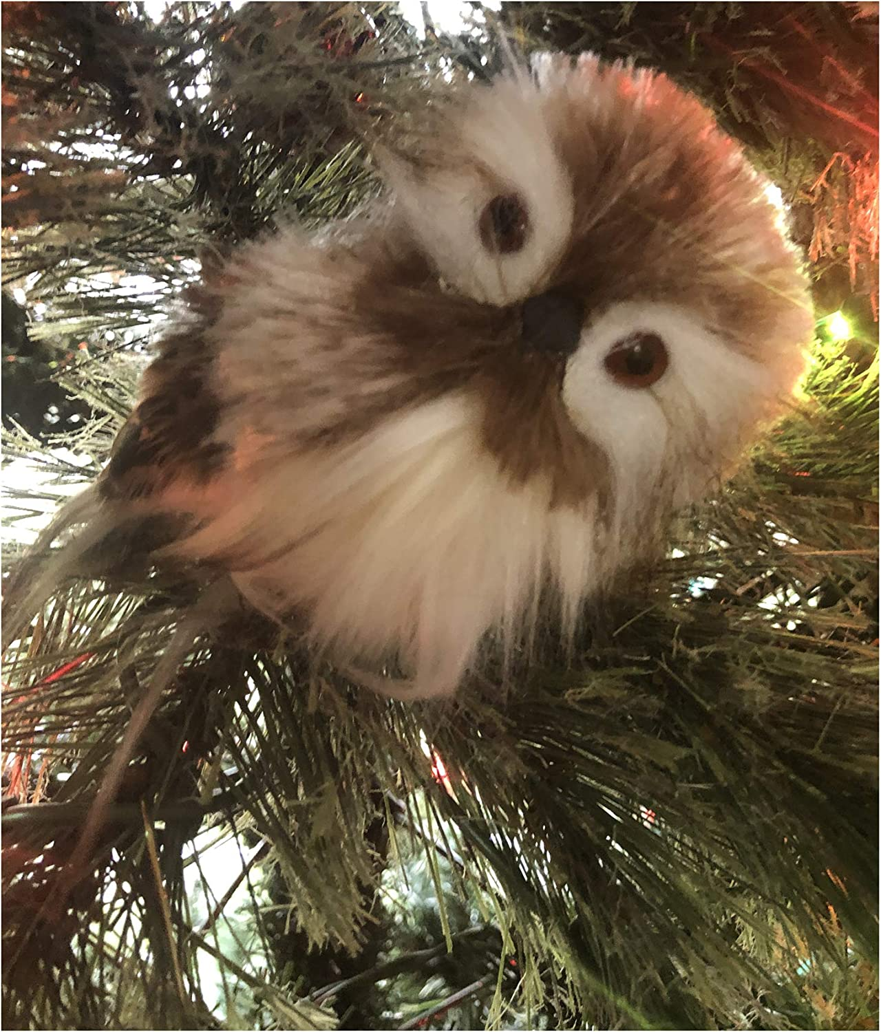 Owl Christmas Ornament - Collector Variations Include Colorful Fancy Feathered Owl, White Snow Owl, Feathery Owls (Brown Feathered Ornament Pick)