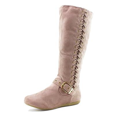 b77abaf01fa Link Mid Calf Side Zipper   String Faux Suede Flat Heel Boots