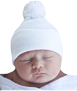 106c8b647a5 Amazon.com  Melondipity s Blue Pom Pom Nursery Beanie for Newborn ...