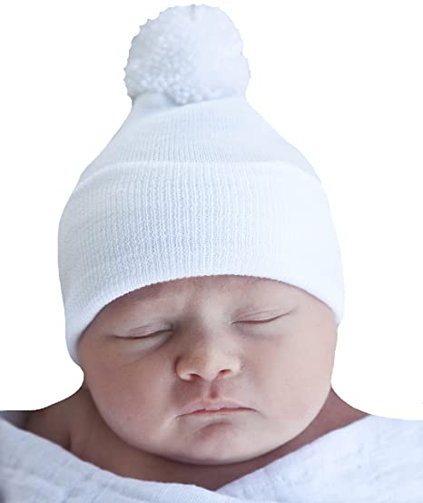 8e25ba466ee Image Unavailable. Image not available for. Color  Melondipity White Pom  Pom Newborn Hospital Hat ...