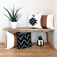 Texture + Ink Decorative Throw Pillow Cover Set of 4 for Sofa, Bed or Couch 100% Cotton and Faux Vegan Leather Modern…