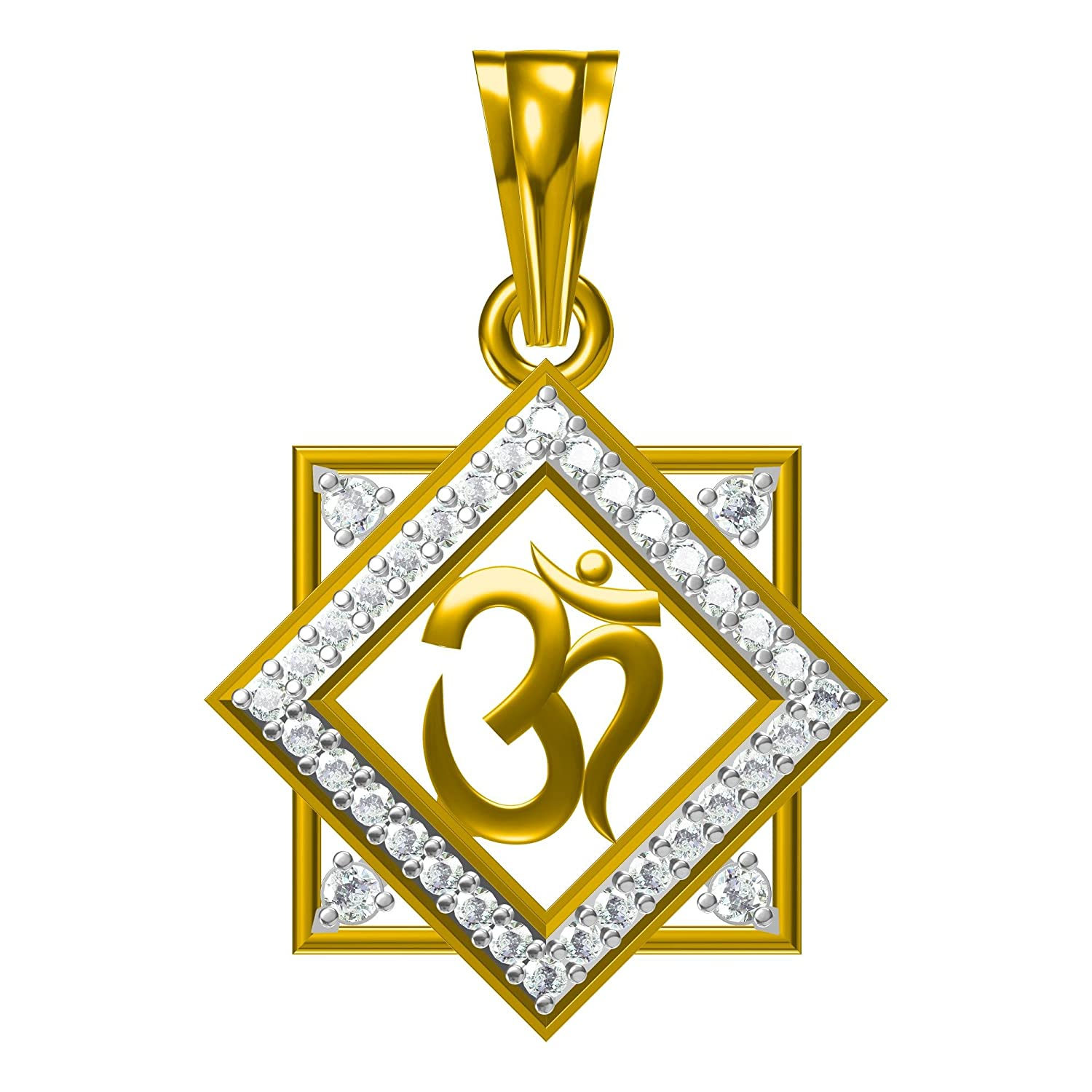 Ashley Jewels 14K Yellow Gold Plated Fn Alloy Simulated Diamond Studded Religious OM Pendant Necklace With Chain