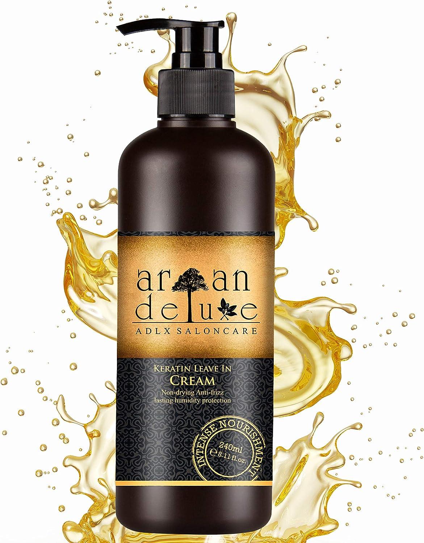 Tratamiento de queratina sin enjuague para el cuidado y estilo del cabello de Argán Deluxe con calidad de peluquería 240 ml - aporta brillo, suavidad y combate el encrespamiento.