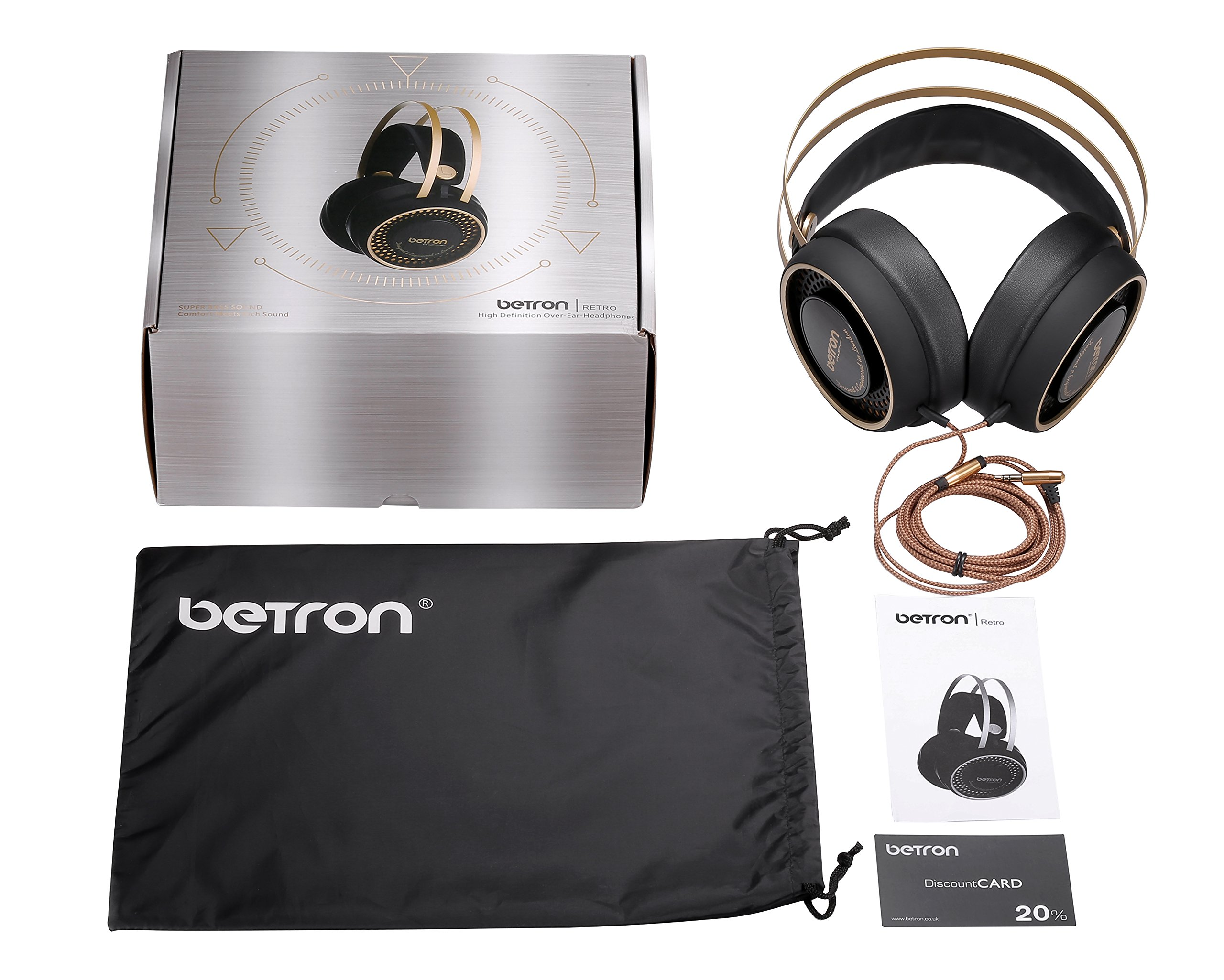 Betron Retro Over Ear Headphones Bass Driven Sound for Iphone, Ipod, Ipad, Tablets, Laptops, Mp3 Players