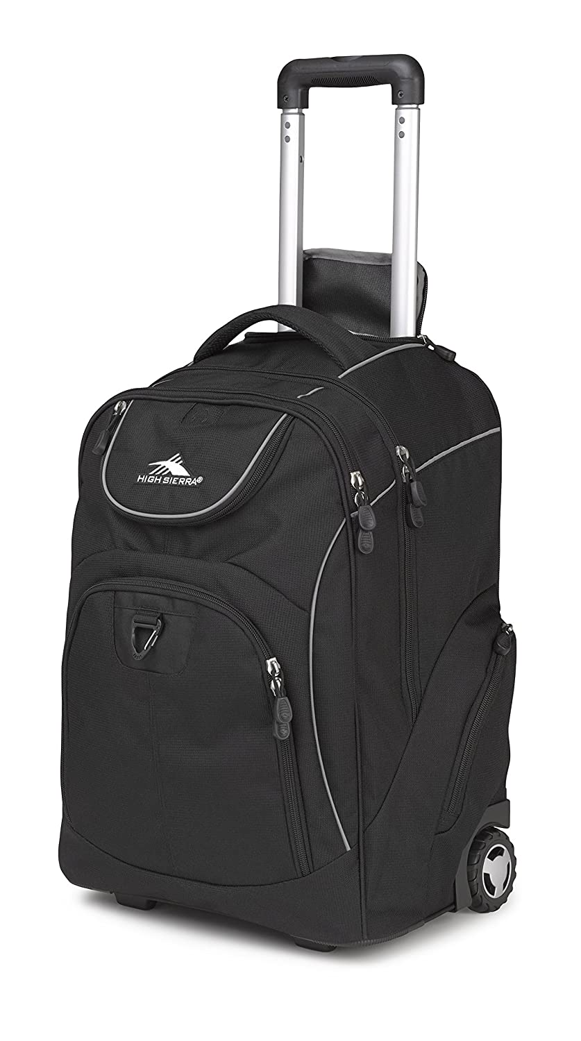 High Sierra Powerglide Wheeled Laptop Backpack, Great for High School, College Backpack, Rolling School Bag, Business Backpack, Travel Backpack, Carry-on Bag Perfect for Men and Women Black (Black Black) High Sierra Bags and Luggage 53992-1050