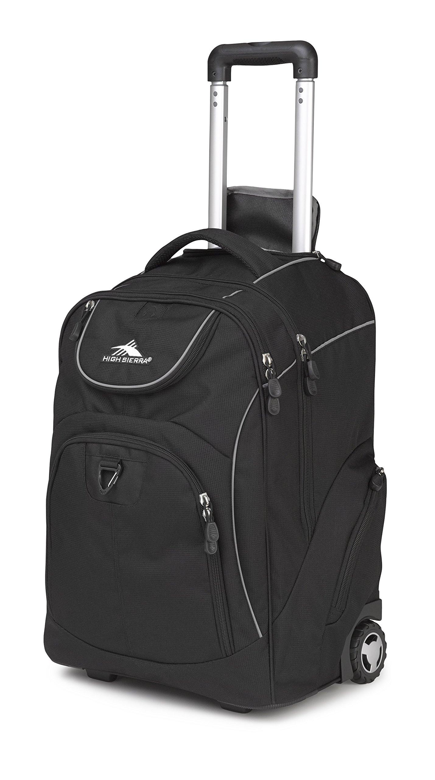 High Sierra Powerglide Wheeled Laptop Backpack, Black (Black, Black)