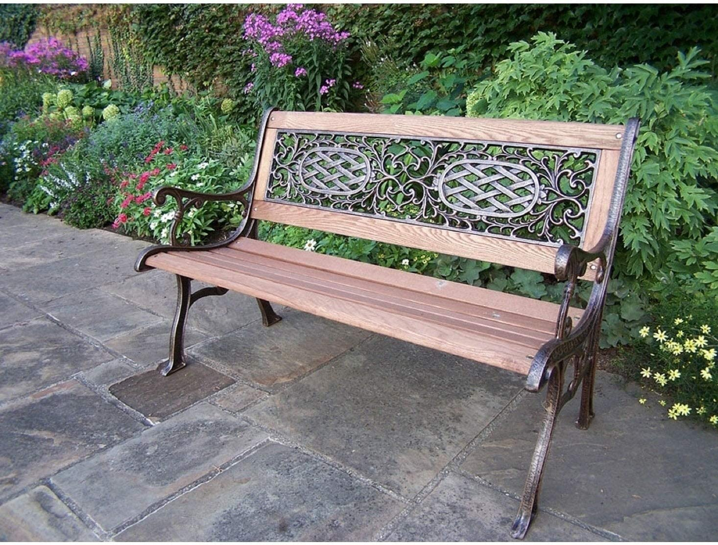 Oakland Living Corporation Cast Aluminum Iron with Wood Garden Bench