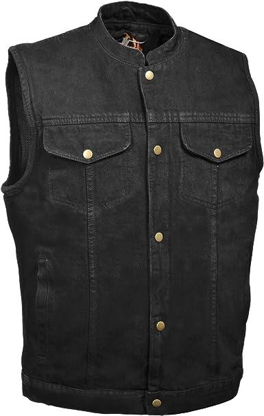Chaleco para hombre con diseño de vaquero negro oculto, estilo SOA, cierre a presión (3X-Large, Denim Black): Amazon.es: Ropa y accesorios
