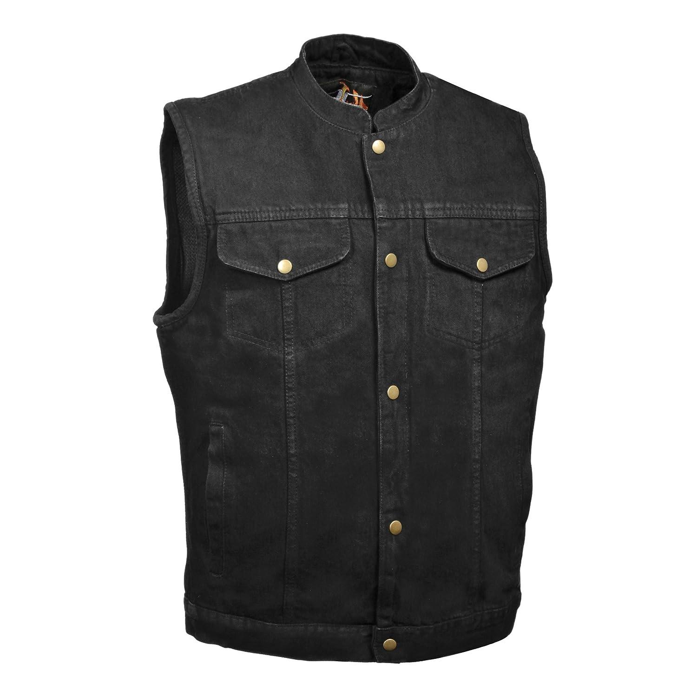 Brand New Men's Concealed Carry Black Denim Outlaw Bikers Vest - SOA Style- Snap Closure Milwaukee Performance DM2238