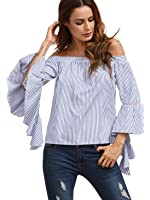 SheIn Women's Striped Off The Shoulder Ruffle Sleeve Blouse
