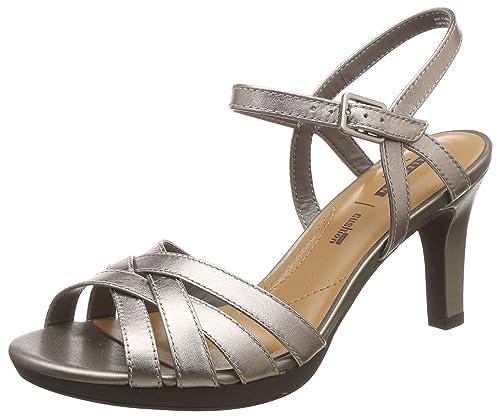 821fd89d8c8 Clarks Women s Adriel Wavy Pewter Leather Fashion Sandals-7 UK India (41 EU