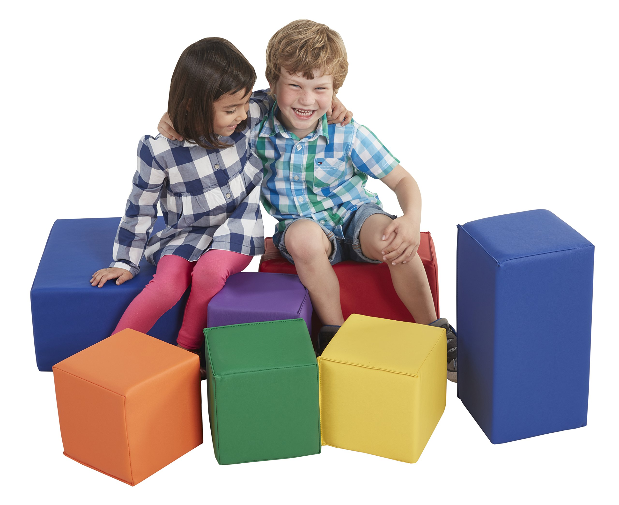 ECR4Kids Softzone Foam Big Building Blocks, Soft Play for Kids (7-Piece Set), Big Blocks, Primary