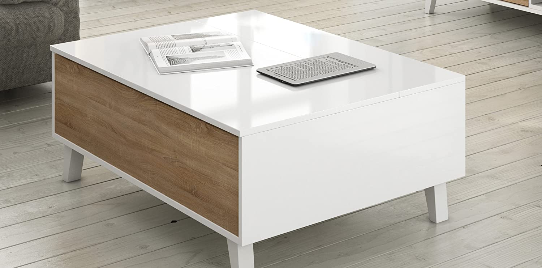 Zaiken Plus Table Basse Scandinave Blanc Brillant Et D Cor Chene  # Meuble Tv Zaiken Plus