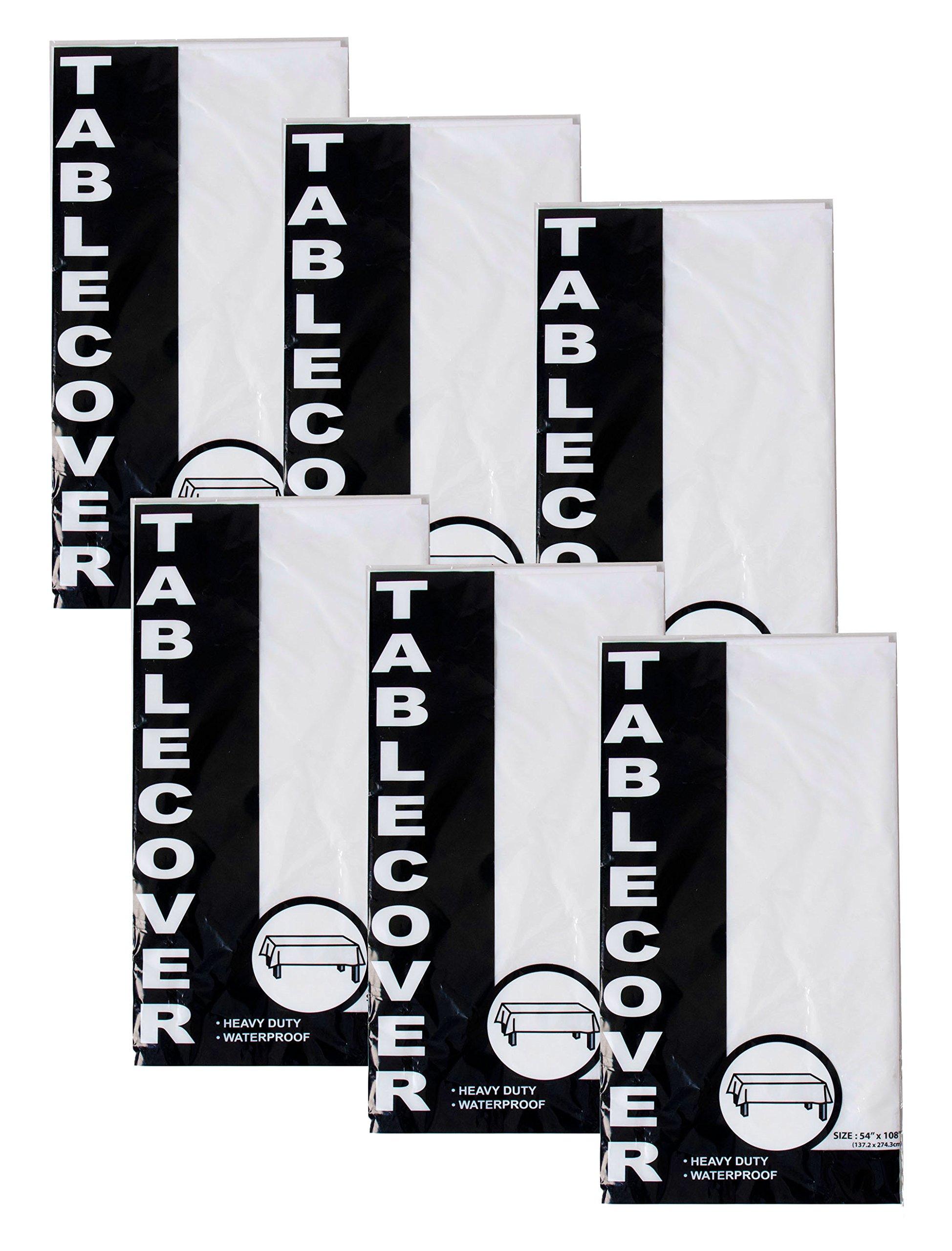 Set of 6 Black Duck Brand 54'' x 108'' Rectangler White Tablecover – Waterproof / Heavy Duty!
