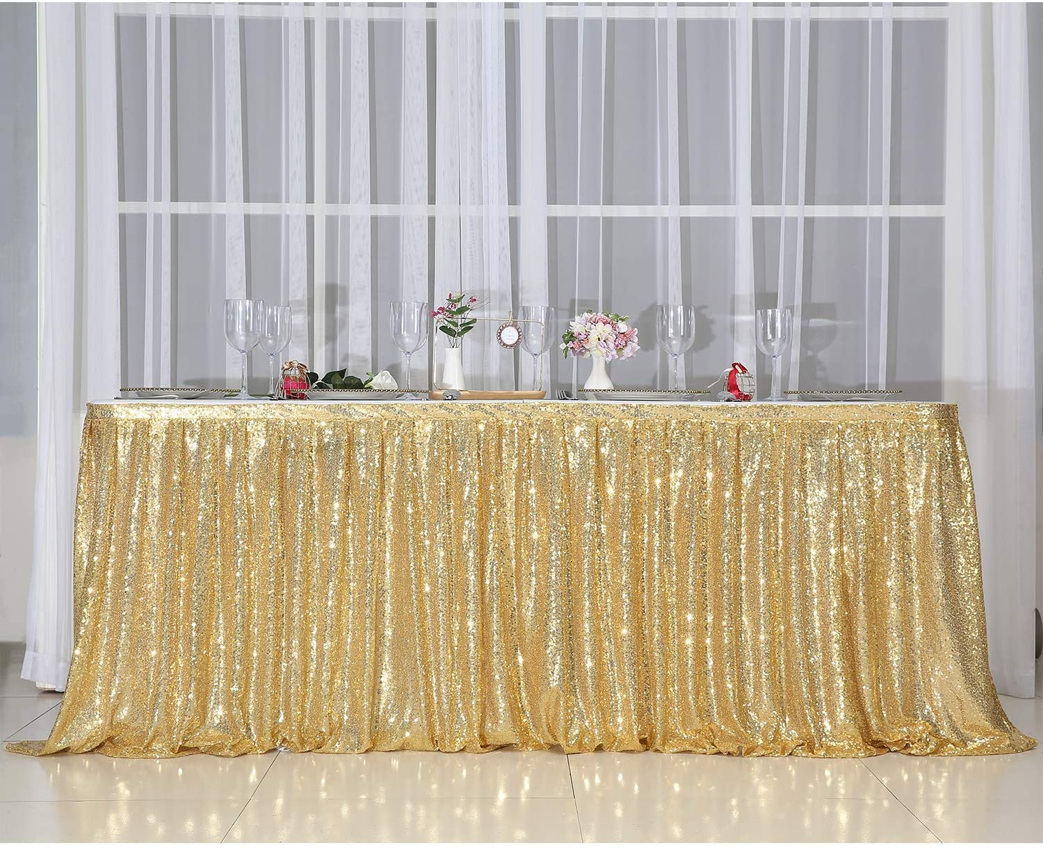 PartyDelight 9ft Gold Sequin Table Skirt for Round/Rectangle/Square Table for Birthday Party Wedding Christmas.