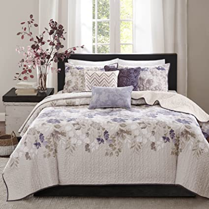 57f35aa574 Amazon.com  Madison Park Luna 6 Piece Reversible Coverlet Set Taupe ...