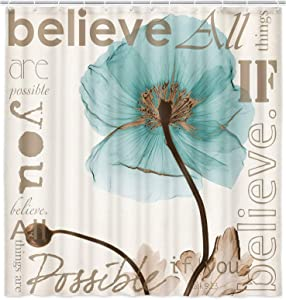 Elegant Teal Tulip Shower Curtains for Bathroom, Brown and Teal Fabric Shower Curtain Set with Hooks, Waterproof Polyester Vintage Spring Floral X-Ray Flowers in Beige Bathroom Curtain, 69X70in