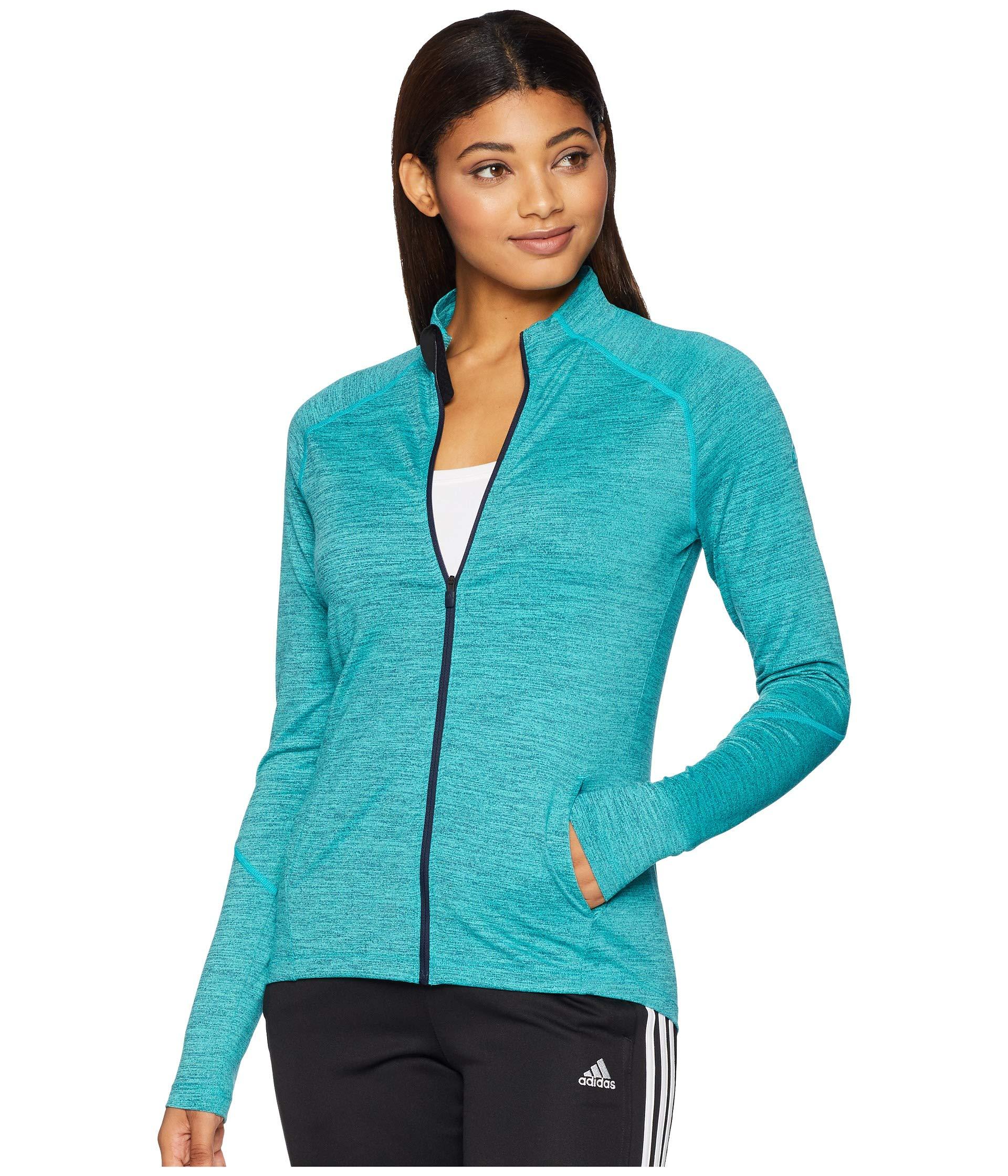 adidas Training Full-Zip Track Jacket, Hi-Res Aqua/Heather, Large