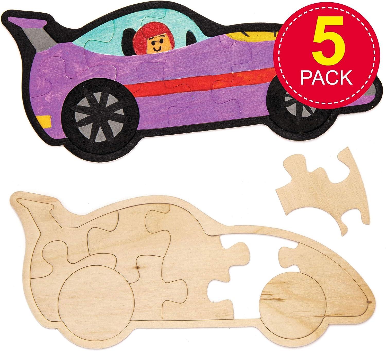 Baker Ross- Puzles de madera con forma de coches de carreras (Pack ...