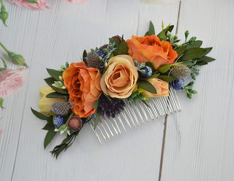 Amazon.com: Orange Floral Comb Decor for