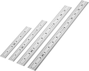 Mr. Pen- Machinist Ruler, 4 Pack (6, 8, 12, 14 inch), Metric Ruler, Millimeter Ruler, (1/64, 1/32, mm and .5 mm), 6 inch Ruler, Stainless Steel Ruler, Metal Ruler 12 inch, mm Ruler, Rulers, Ruler Set