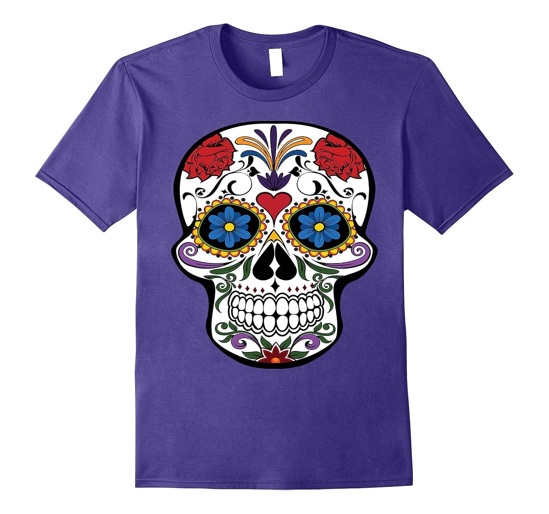 Fashion Sugar Skull Flower Death Day Of The Dead T-Shirt-Art