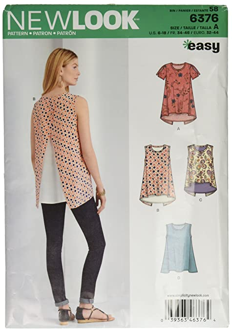 2e293174f636f New Look Sewing Pattern 6376  Misses  Tops with Length Variations ...