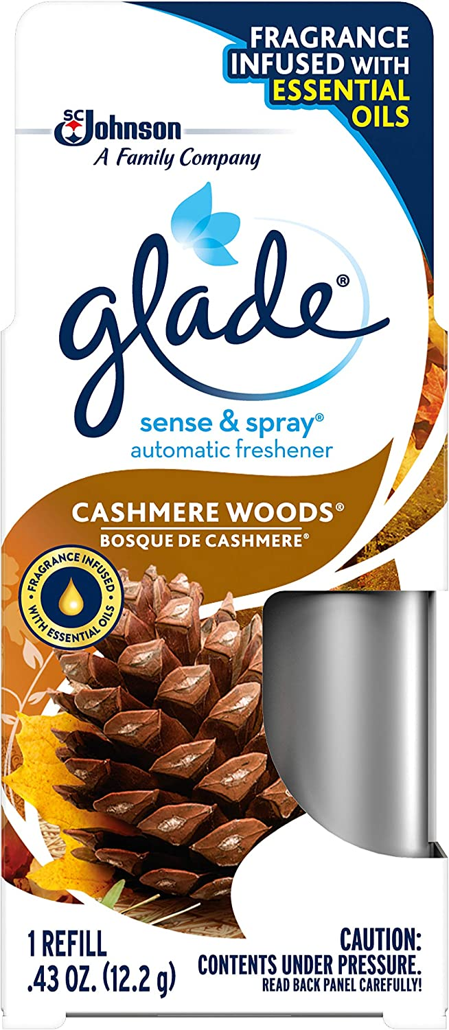 Glade Sense & Spray Cashmere Woods Refill, Fits in Holder Equipped With Motion Sensor for Automatic Freshness, Brown, 0.43 oz