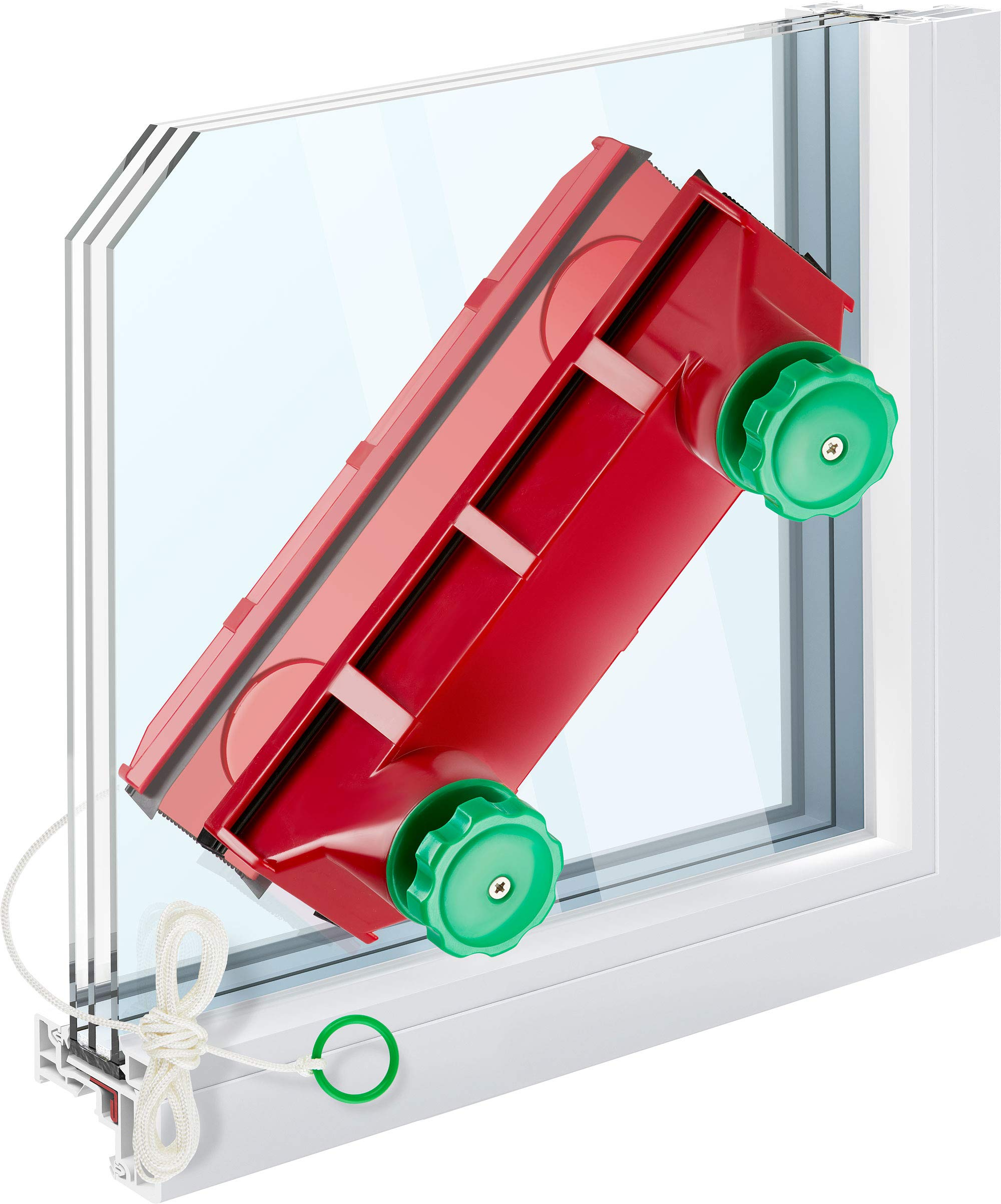 Tyroler Bright Tools Magnetic Window Cleaner (The Glider D-4) Indoor and Outdoor Glass Pane Cleaning | Single, Double, or Tripled Glazed 0.08''-1.6'' | Adjustable Magnet Force