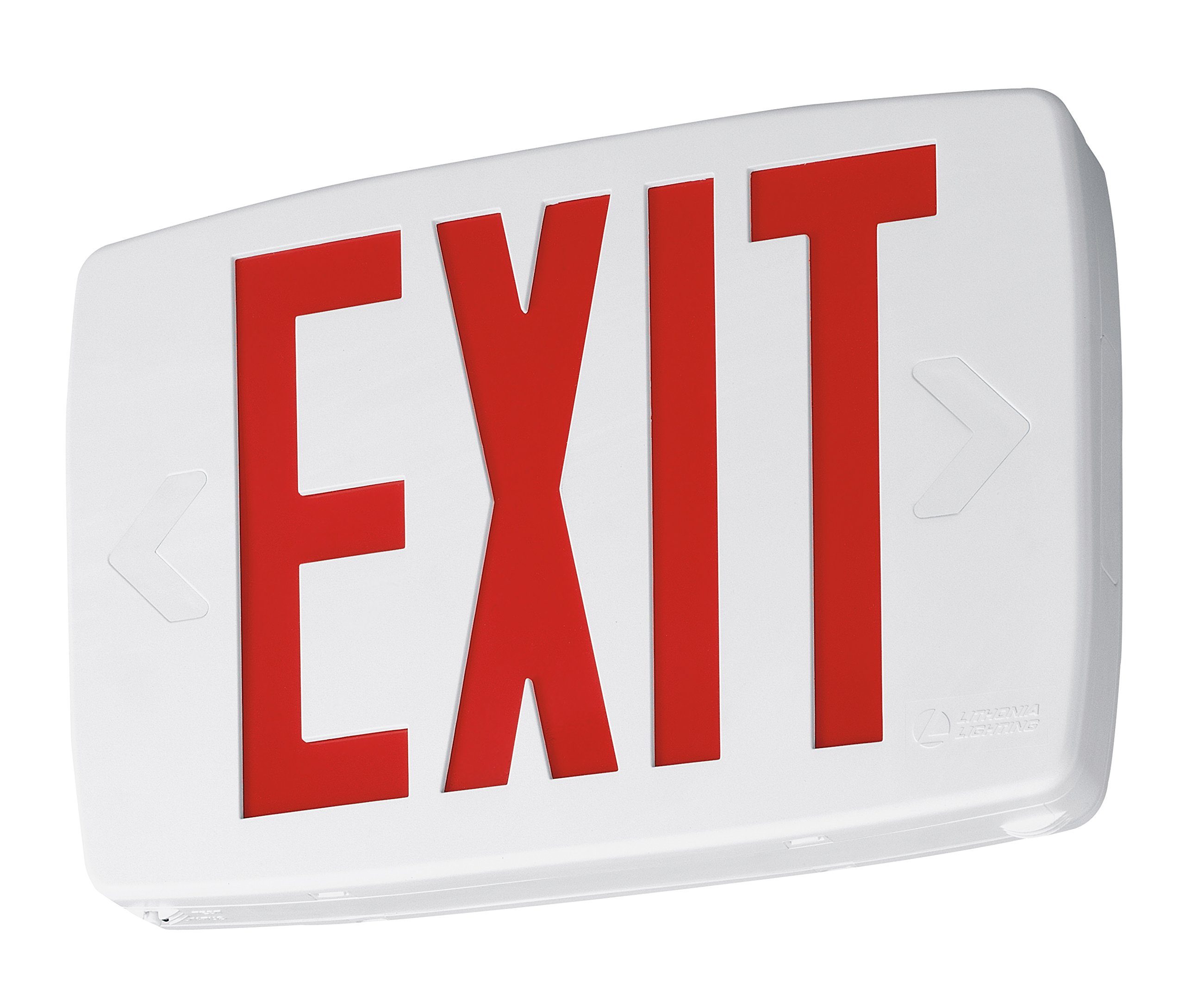 Lithonia Lighting LQM S W 3 R 120/277 EL N SD M6 Quantum Thermoplastic LED Emergency Exit Sign with Stencil-Faced White Housing and Red Letters with Nickel Cadium battery and Self Diagnostic