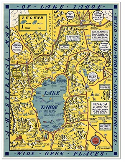 Amazon.com: Hysterical MAP of Lake Tahoe by Jolly Lindgren circa ...