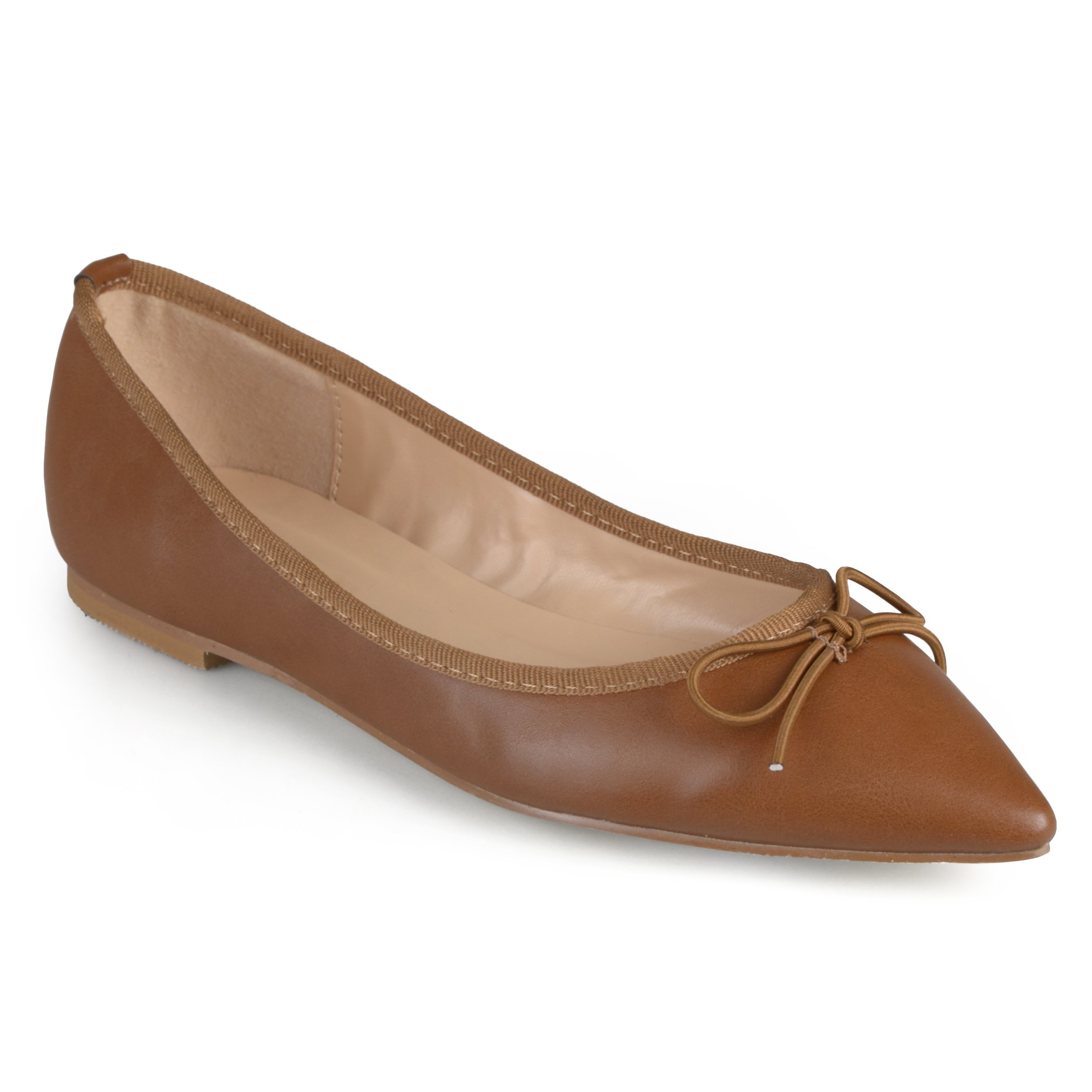 Journee Collection Womens Pointed Toe Bow Ballet Flats Camel, 10 Regular US