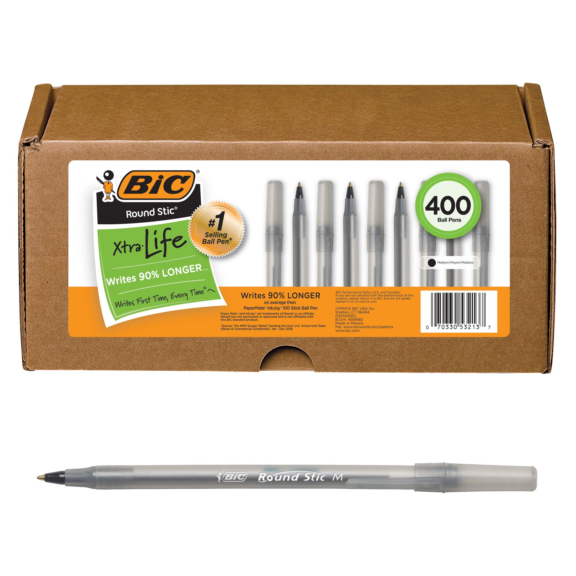 BIC Round Stic Xtra Life Ball Pen, Medium Point (1.0mm), Black, 400-Count