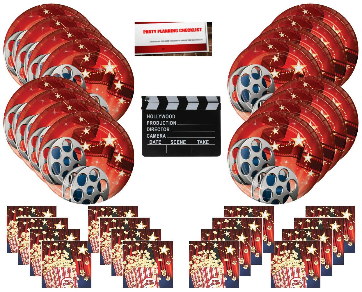 Hollywood Movie Party Supplies Bundle Pack for 16 guests (Bonus 7 Inch Movie Set Clapboard Plus Party Planning Checklist by Mikes Super Store)