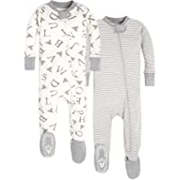 Burt's Bees Baby Baby Boys' Unisex Pajamas, Zip-Front Non-Slip Footed Sleeper Pjs, Organic Cotton